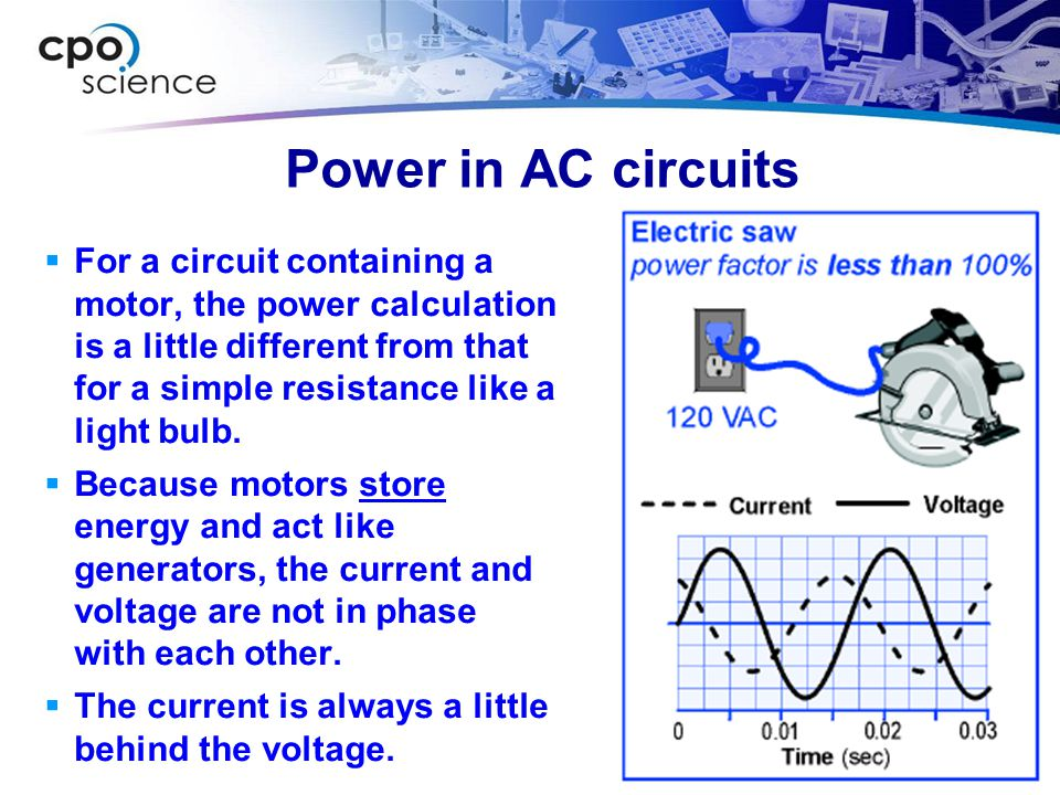Power in AC circuits