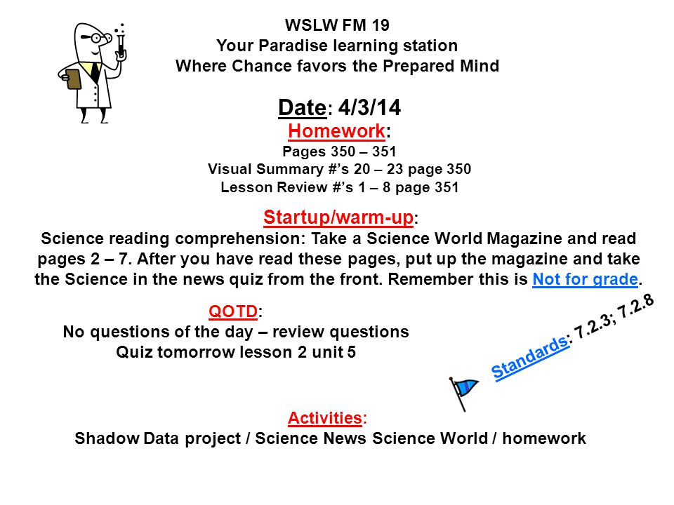 WSLW FM 19 Your Paradise learning station Where Chance favors the Prepared Mind