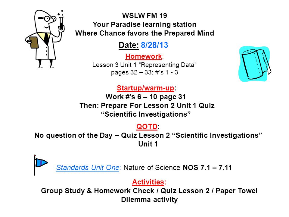 Homework: Lesson 3 Unit 1 Representing Data pages 32 – 33; #'s 1 - 3