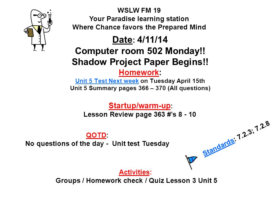 Date: 4/11/14 Computer room 502 Monday!! Shadow Project Paper Begins!!