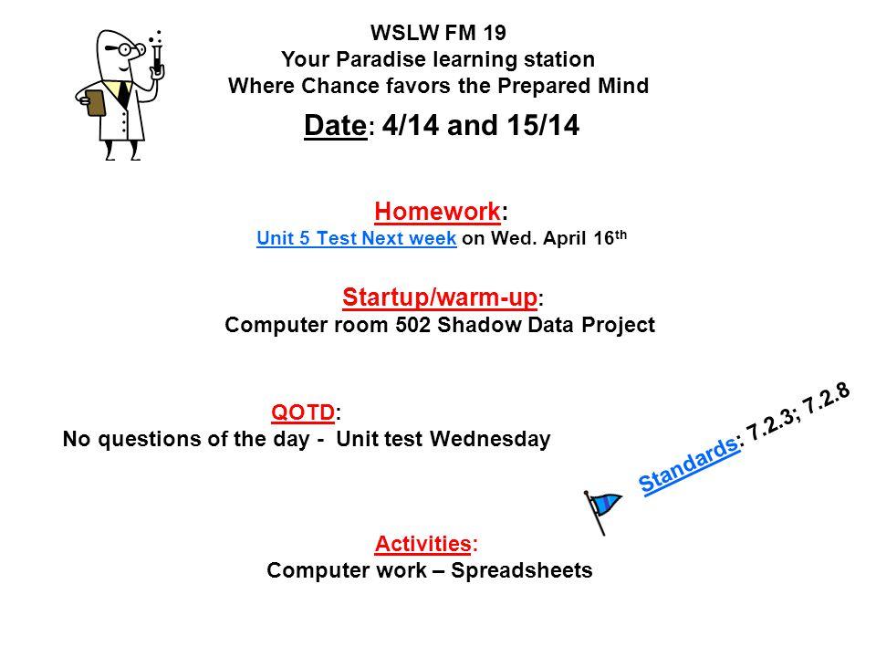 Homework: Unit 5 Test Next week on Wed. April 16th
