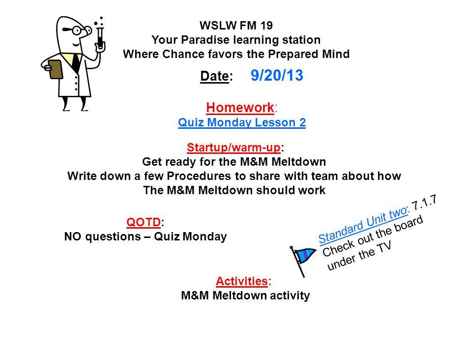 Homework: Quiz Monday Lesson 2
