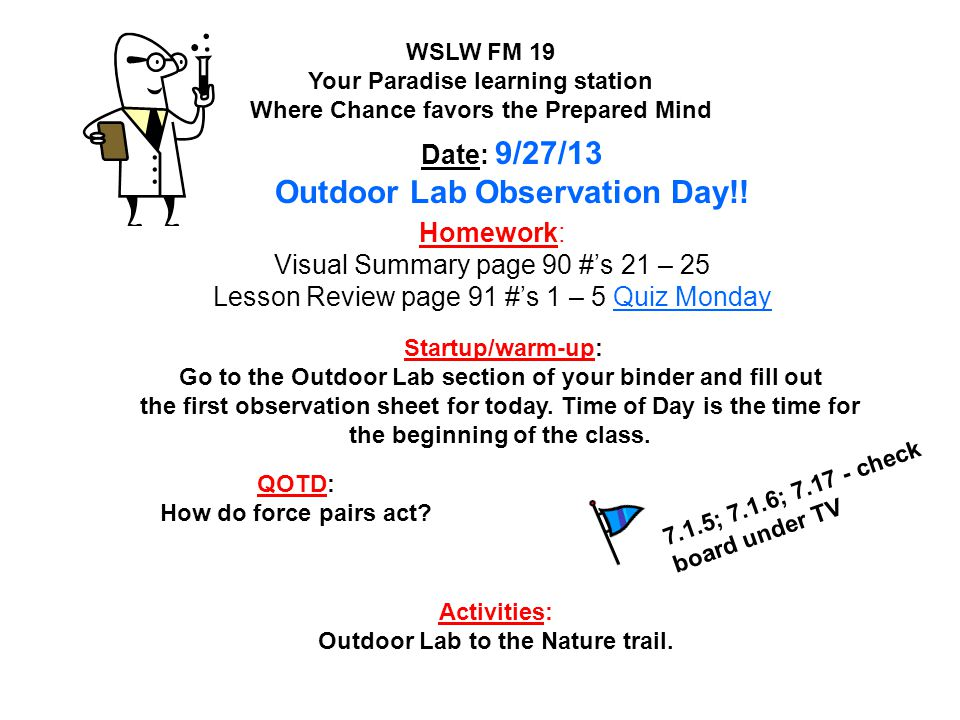Outdoor Lab Observation Day!!