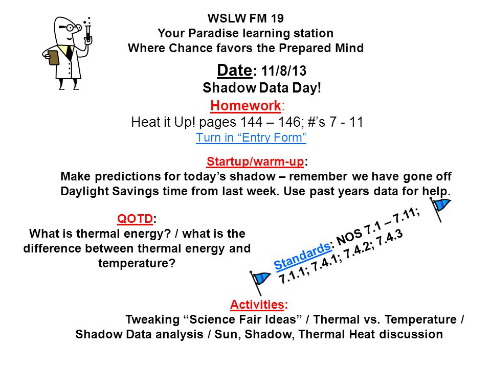 Homework: Heat it Up! pages 144 – 146; #'s 7 - 11 Turn in Entry Form