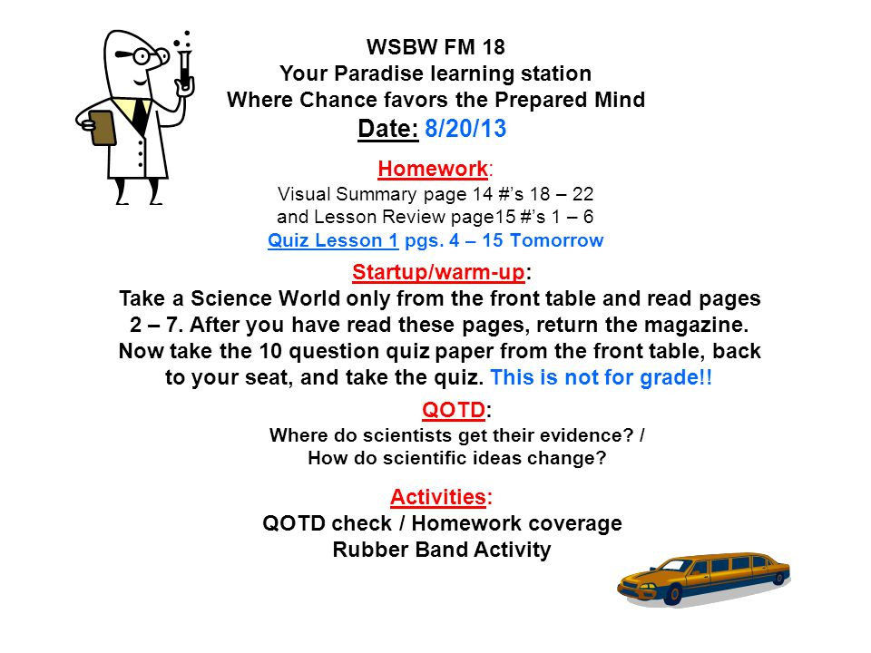 WSBW FM 18 Your Paradise learning station Where Chance favors the Prepared Mind