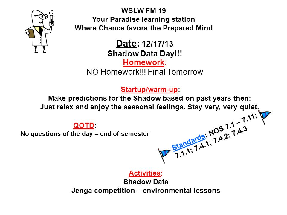 Homework: NO Homework!!! Final Tomorrow