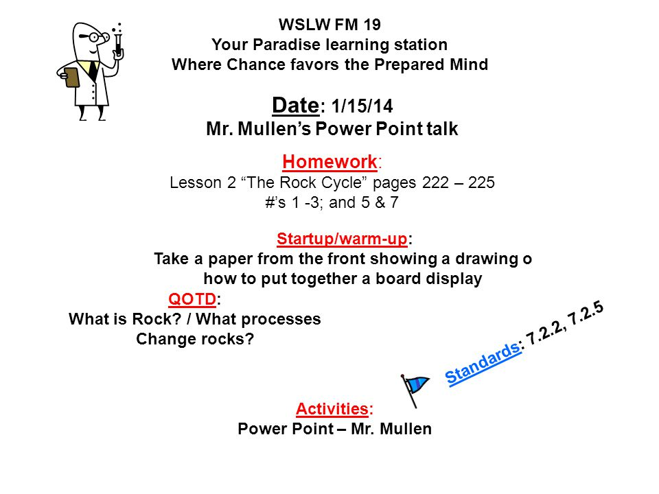 Date: 1/15/14 Mr. Mullen's Power Point talk