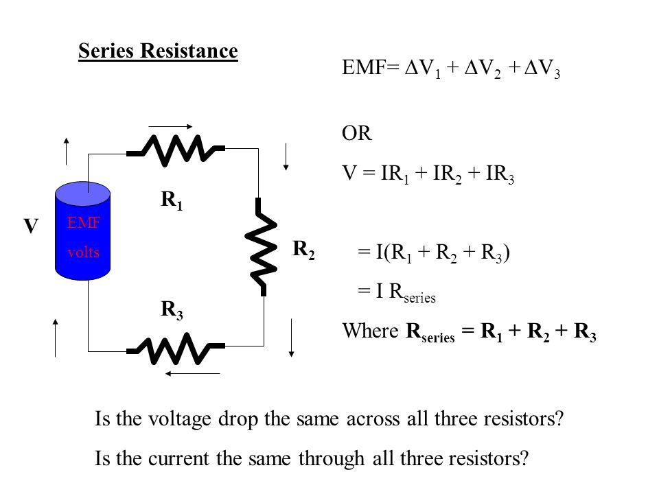 Is the voltage drop the same across all three resistors