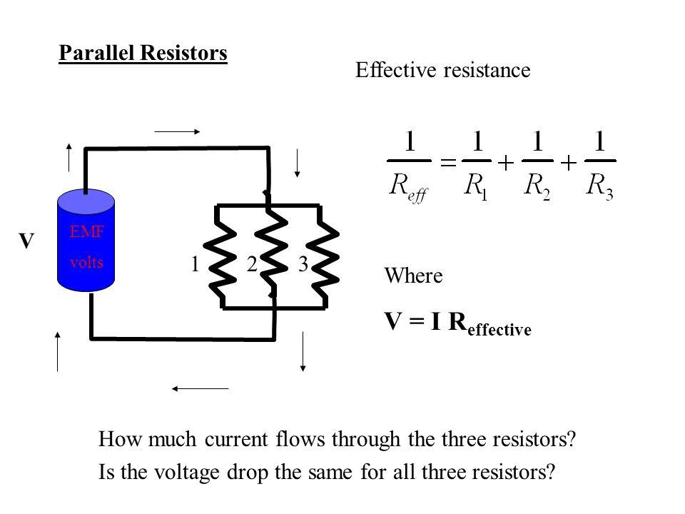 V = I Reffective Parallel Resistors Effective resistance 1 2 3 V Where
