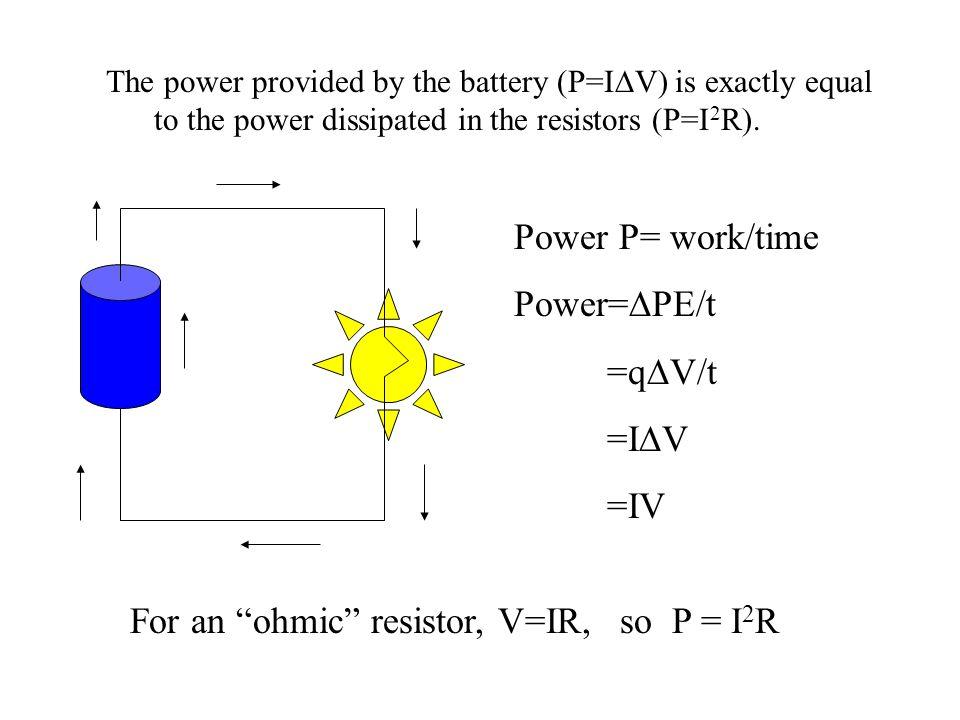 For an ohmic resistor, V=IR, so P = I2R