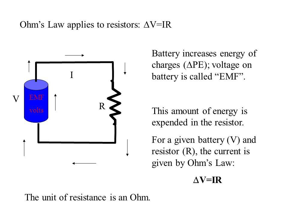 Ohm's Law applies to resistors: DV=IR