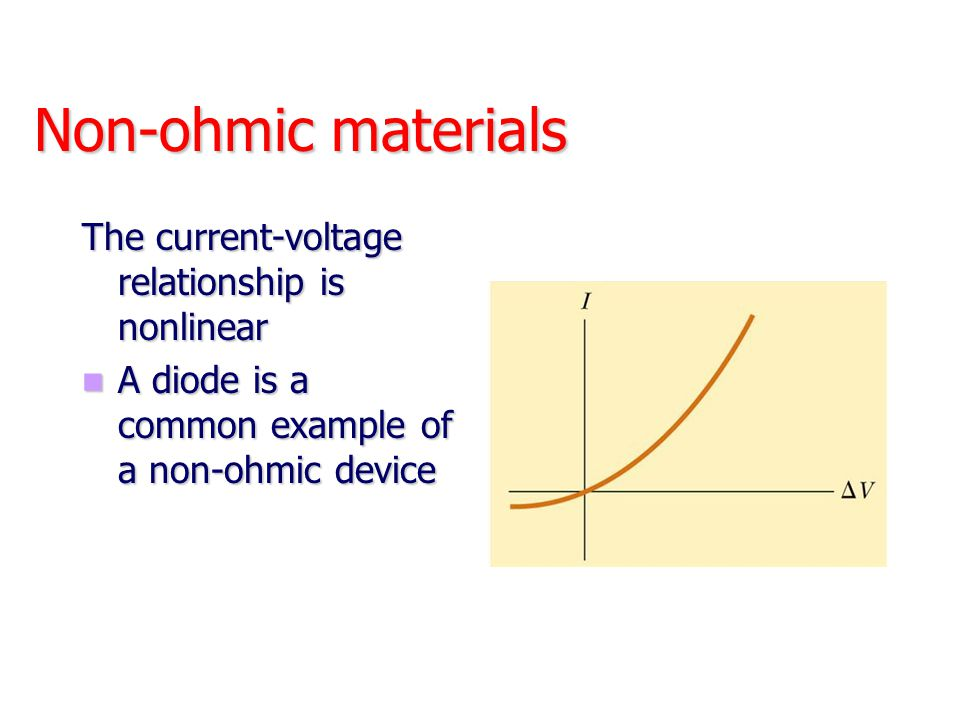 Non-ohmic materials The current-voltage relationship is nonlinear