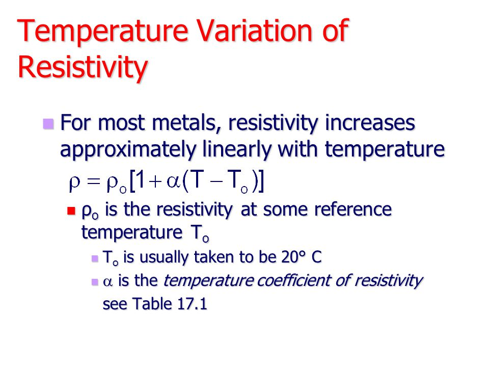 Temperature Variation of Resistivity