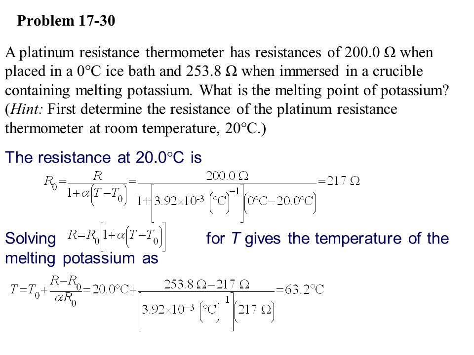 Solving for T gives the temperature of the melting potassium as
