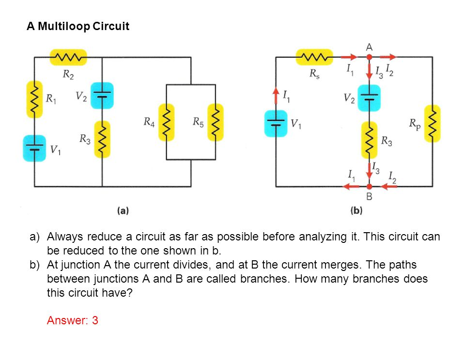 A Multiloop Circuit Always reduce a circuit as far as possible before analyzing it. This circuit can be reduced to the one shown in b.