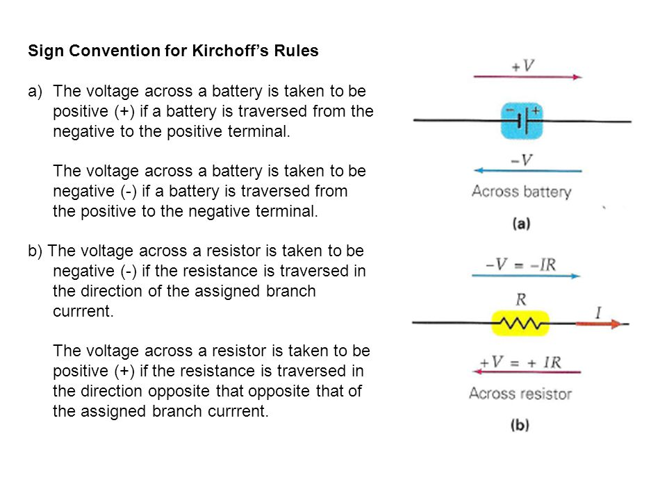 Sign Convention for Kirchoff's Rules