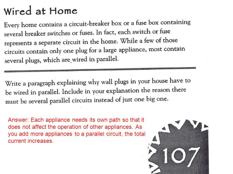 Answer: Each appliance needs its own path so that it does not affect the operation of other appliances.