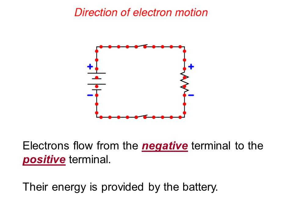 Electrons flow from the negative terminal to the positive terminal.