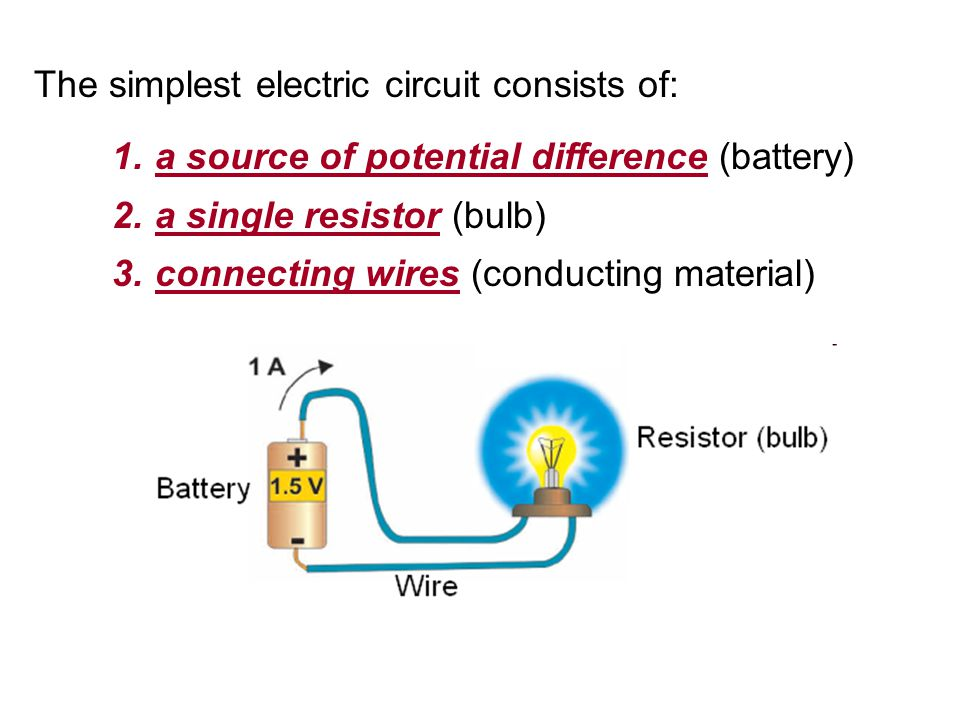 The simplest electric circuit consists of: