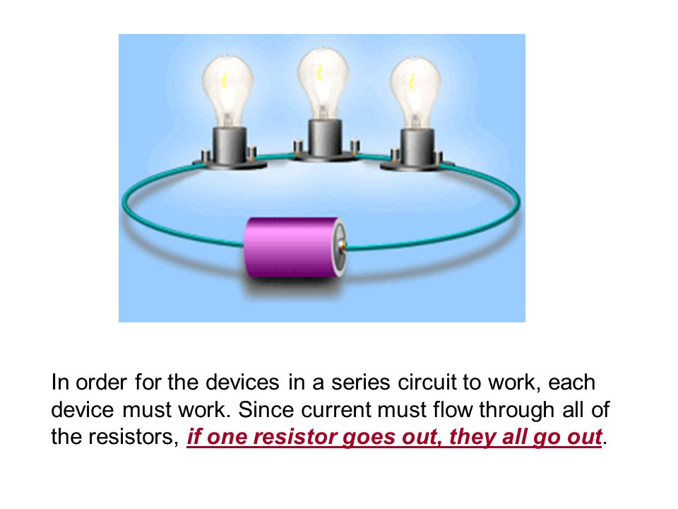 In order for the devices in a series circuit to work, each device must work. Since current must flow through all of
