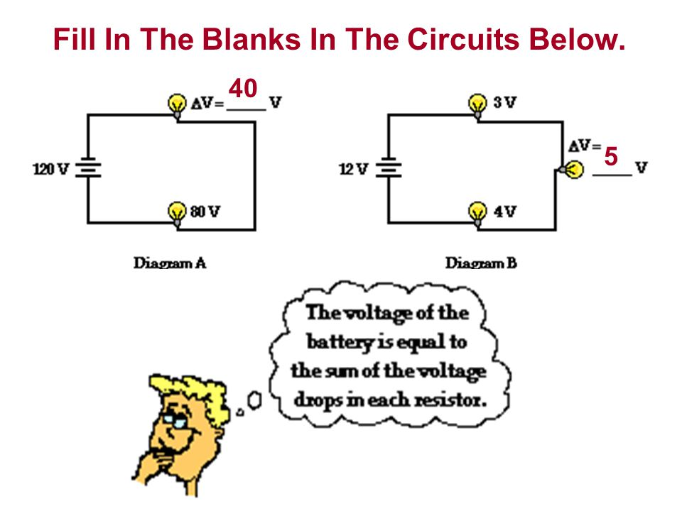 Fill In The Blanks In The Circuits Below.