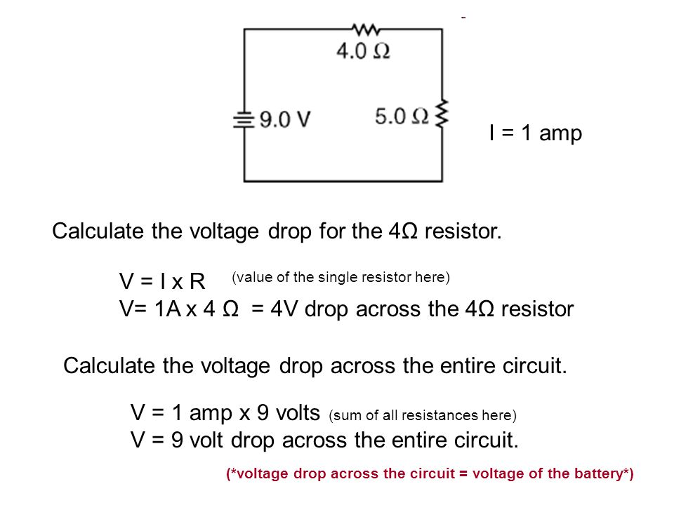 Calculate the voltage drop for the 4Ω resistor.