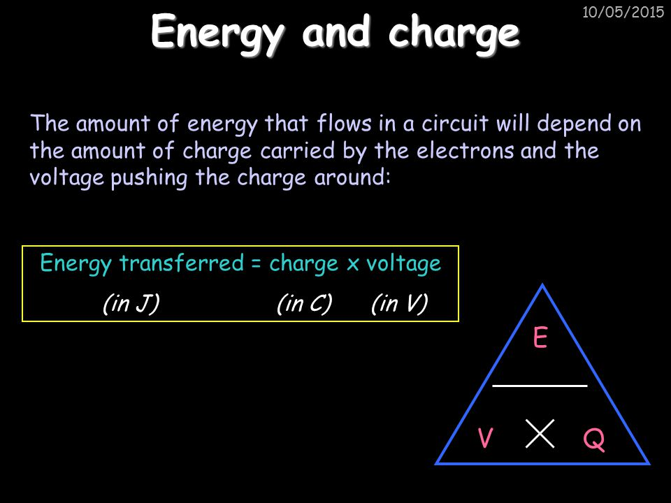 Energy transferred = charge x voltage