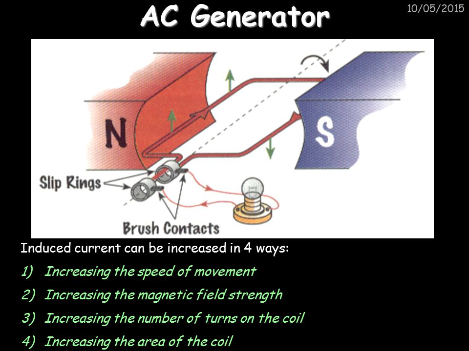 AC Generator Induced current can be increased in 4 ways: