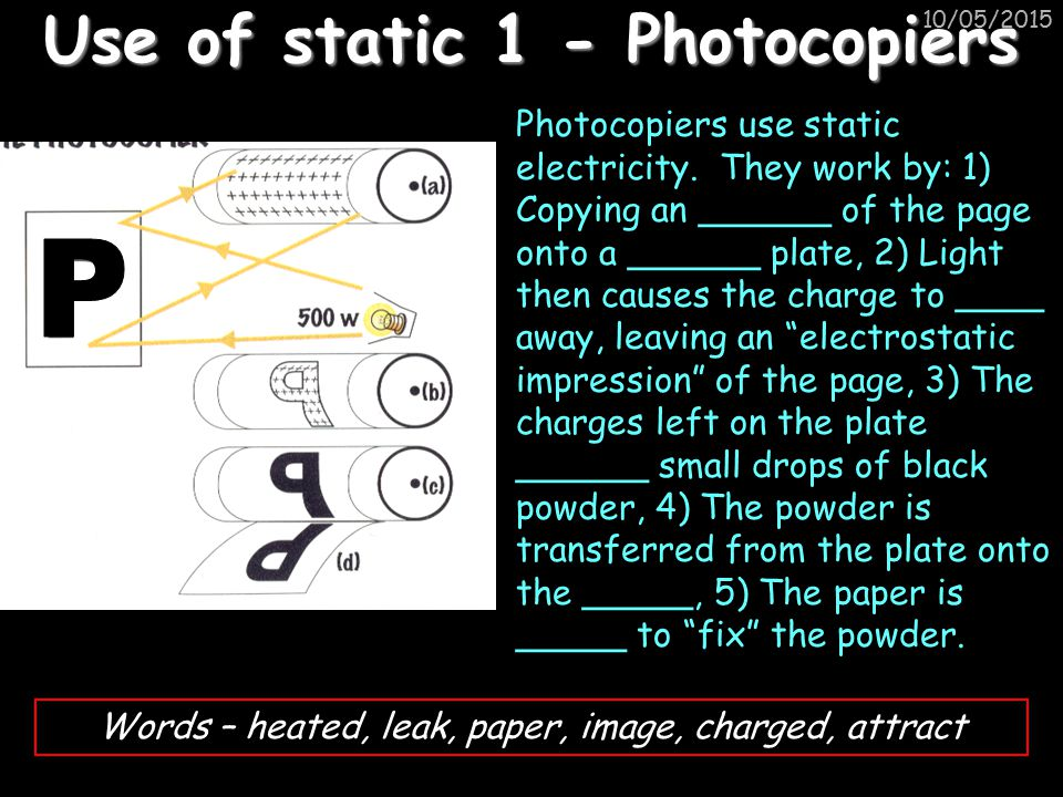Use of static 1 - Photocopiers