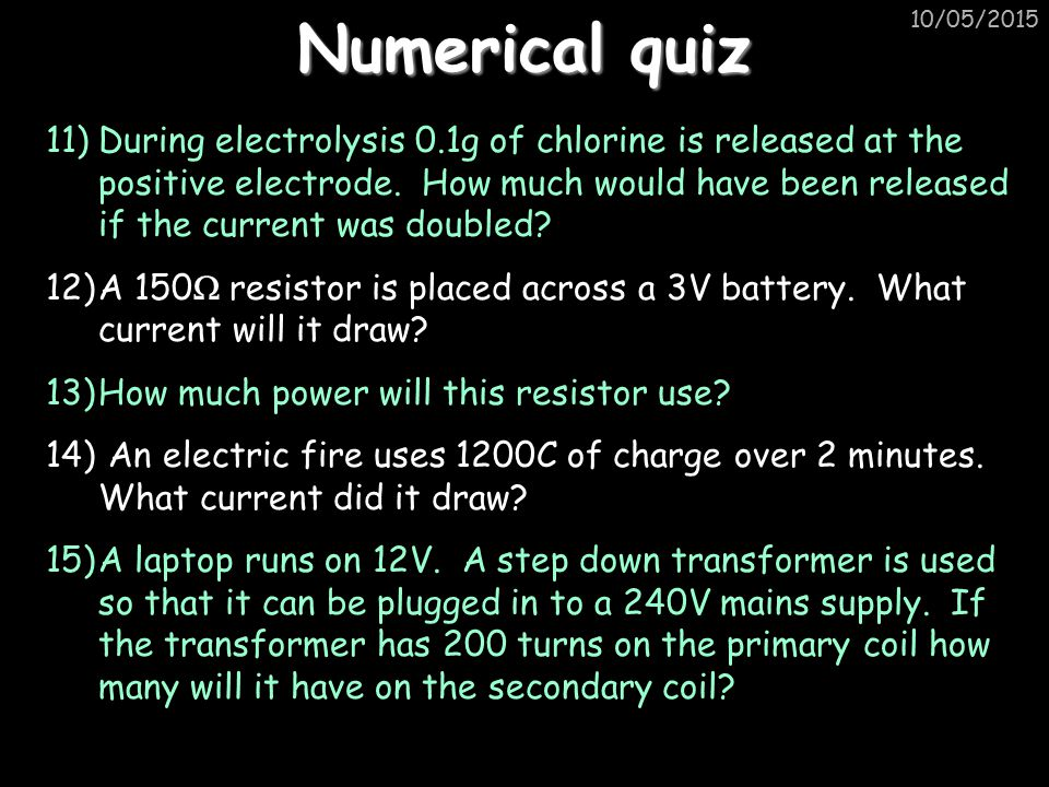 Numerical quiz 15/04/2017.