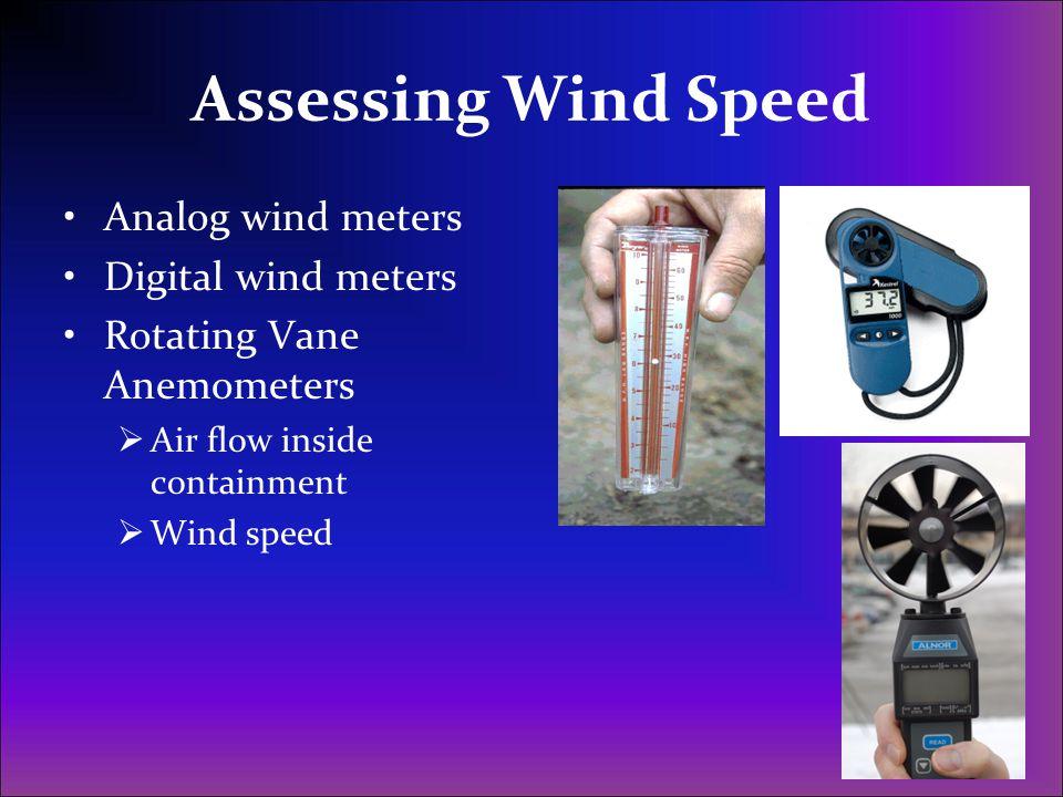 Assessing Wind Speed Analog wind meters Digital wind meters