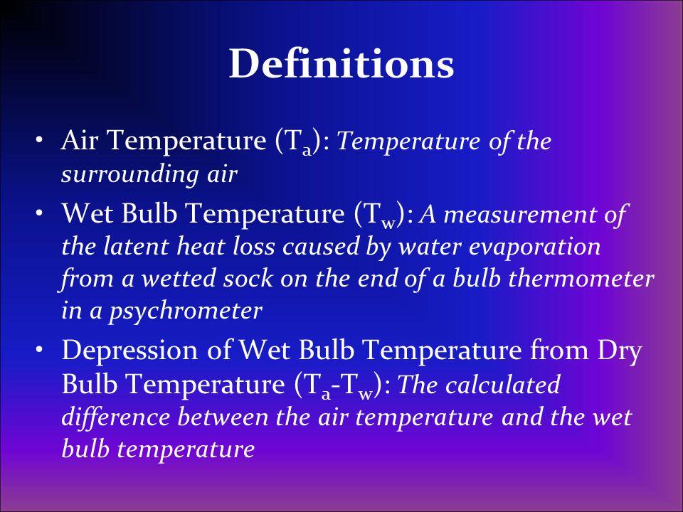 Definitions Air Temperature (Ta): Temperature of the surrounding air