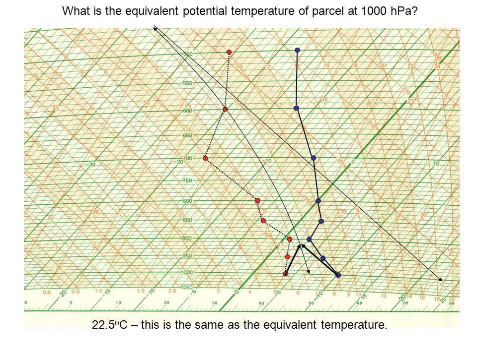 What is the equivalent potential temperature of parcel at 1000 hPa