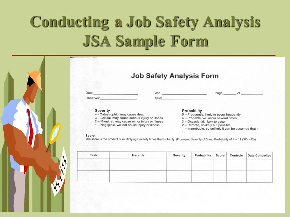 Conducting a Job Safety Analysis JSA Sample Form