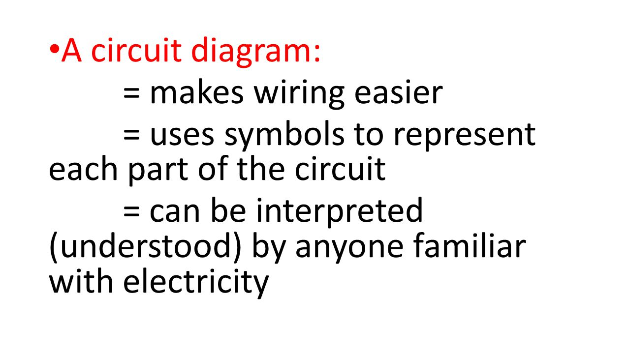 A circuit diagram: = makes wiring easier. = uses symbols to represent each part of the circuit.