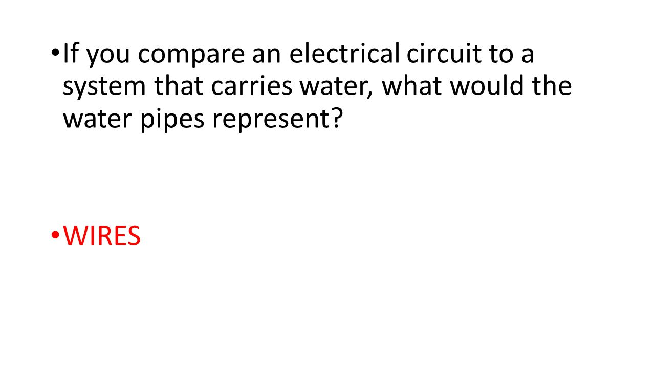If you compare an electrical circuit to a system that carries water, what would the water pipes represent