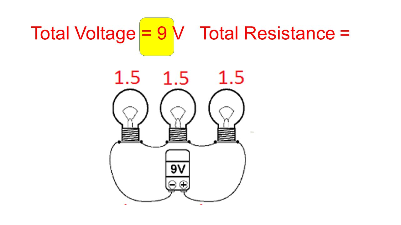 Total Voltage = 9 V Total Resistance =