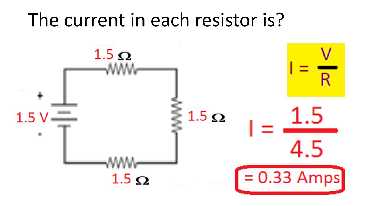 The current in each resistor is