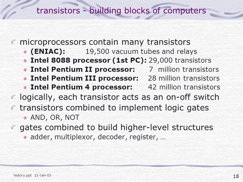 transistors - building blocks of computers