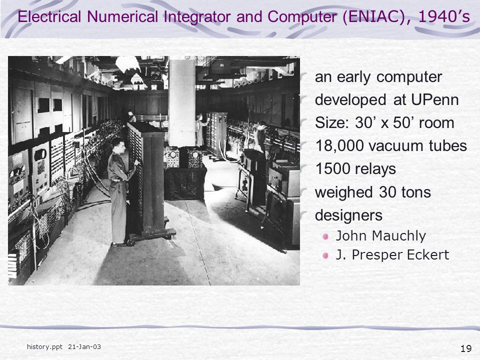Electrical Numerical Integrator and Computer (ENIAC), 1940's