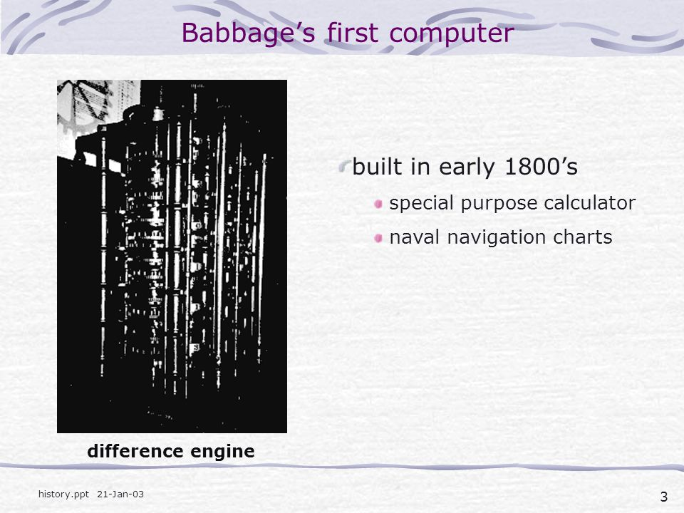 Babbage's first computer