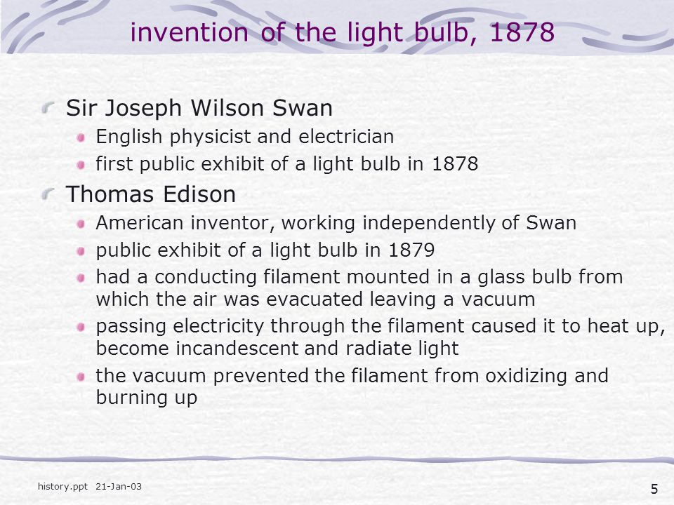 invention of the light bulb, 1878