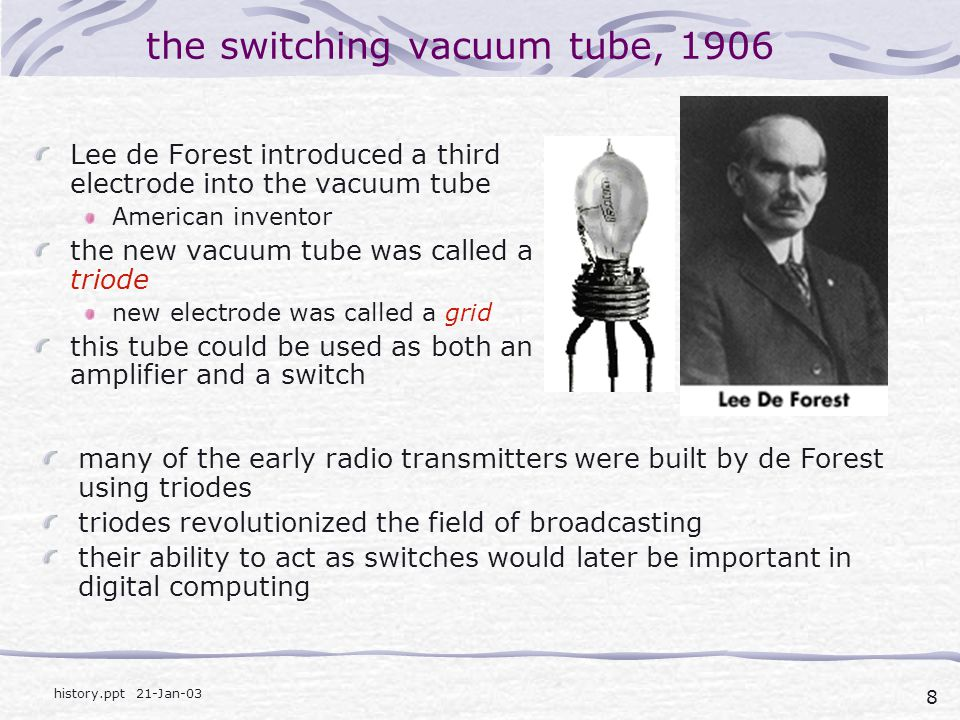 the switching vacuum tube, 1906