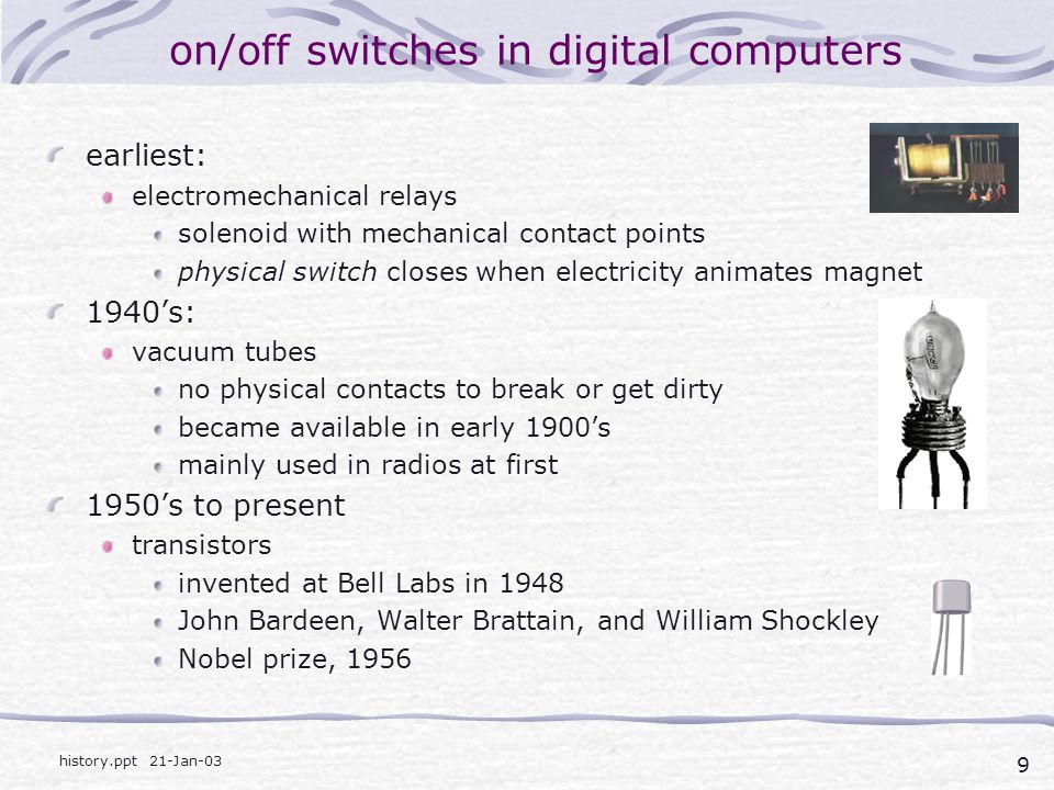 on/off switches in digital computers