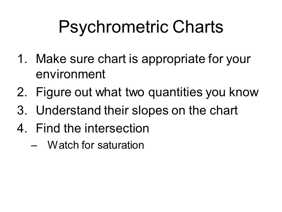 Psychrometric Charts Make sure chart is appropriate for your environment. Figure out what two quantities you know.