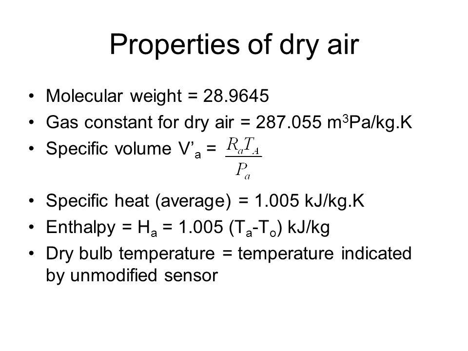 Properties of dry air Molecular weight = 28.9645