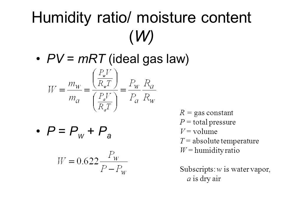 Humidity ratio/ moisture content (W)