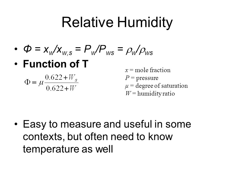 Relative Humidity Φ = xw/xw,s = Pw/Pws = w/ws Function of T