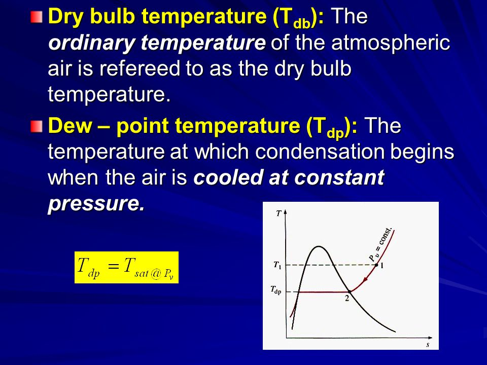 Dry bulb temperature (Tdb): The ordinary temperature of the atmospheric air is refereed to as the dry bulb temperature.