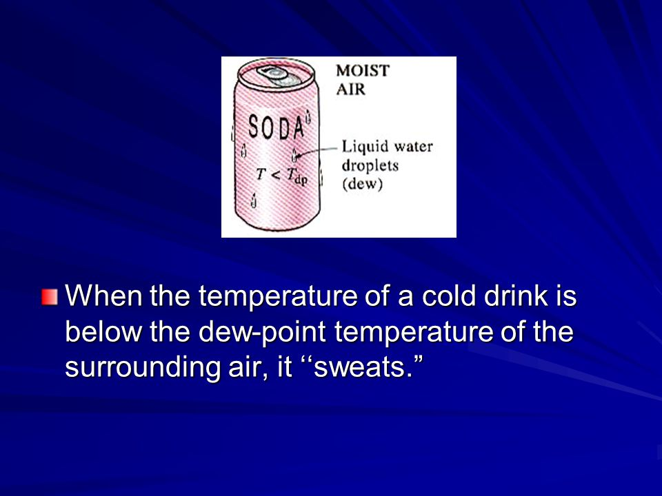 When the temperature of a cold drink is below the dew-point temperature of the surrounding air, it ''sweats.